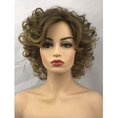Short Oblique Bang Curly Heat Resistant Synthetic Wig