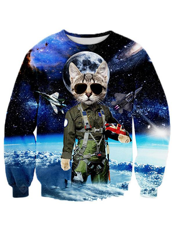 Creative Cat Sheriff into Space 3D Printed Graphic Sweatshirts