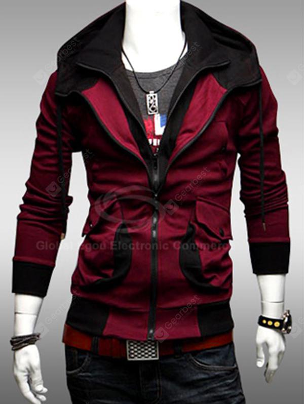Handsome Solid Large Pockets Double-Zip Design Polyester Men's Hooded Spring Sweatshirt