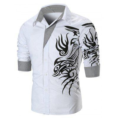 Dragon Print Streifen Panel T-Shirt