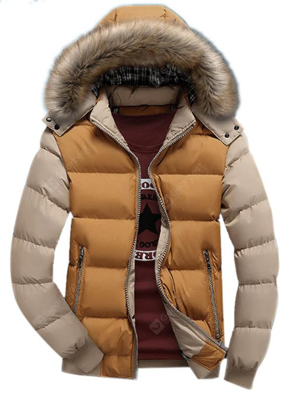 143739c7dfc Detachable Faux Fur Hood Zip Up Two Tone Quilted Jacket -  25.44 ...
