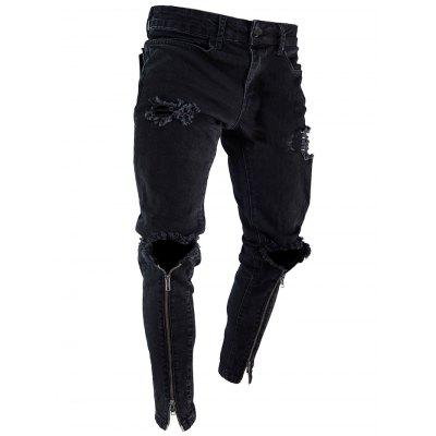 Ripped Holes Zipper Hem Stretchy Jeans