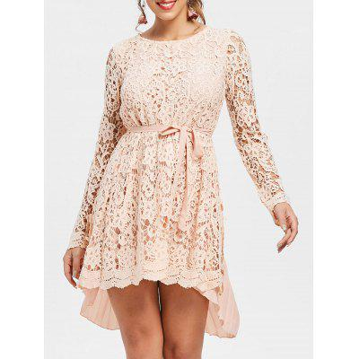 Long Sleeve High Low Mini Lace Pleated Dress cold shoulder fringed lace insert mini shift dress