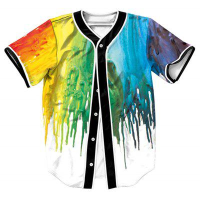 Paint Dripping Button Up Baseball Jersey