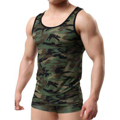 Slim Fit Camo Print Tank Top