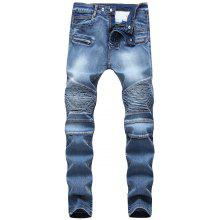 Get Narrow Feet Pleated Zippers Decorated Pockets Jeans Just for $63.41