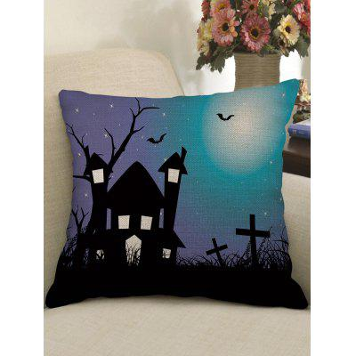 Halloween Castle Bat Crucifix Print Pillow Case