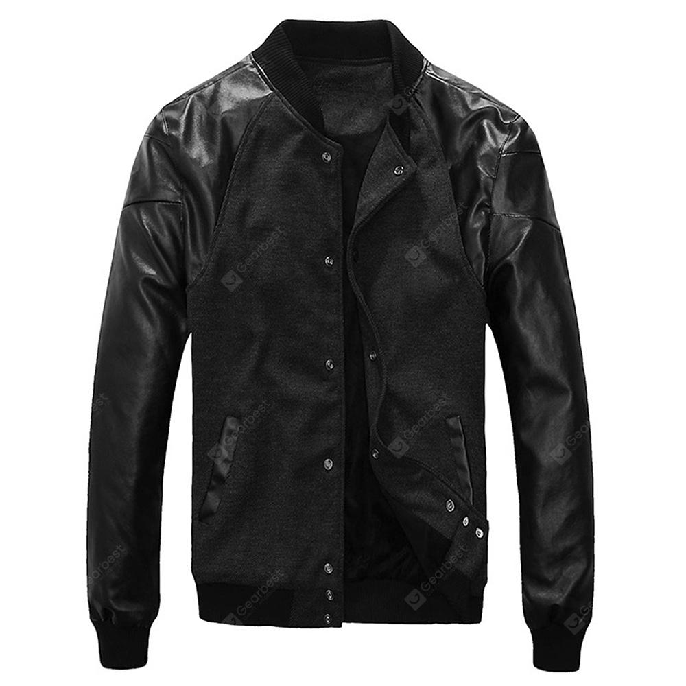 Leatherette Panel Snap Button Wool Bend Jacket