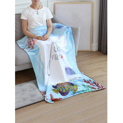 Jellyfish Fish Printed Flannel Soft Bed Blanket