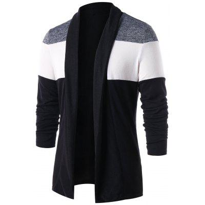 Color Block Open Front Casual Cardigan