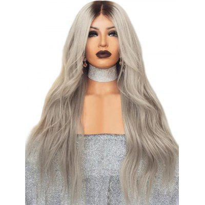 Middle Part Long Ombre Wavy Synthetic Wig