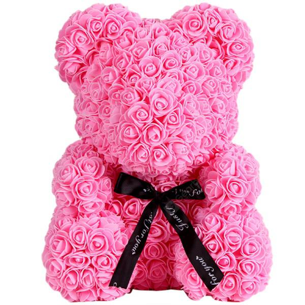 Wedding Party Decoration Valentine's Day Gift Artificial Roses Bear - PINK