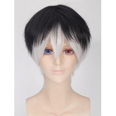 Short Straight Colormix Synthetic Anime Tokyo Ghoul Ken Kaneki Cosplay Wig