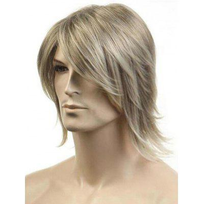 Meidum Side Bang Colormix Straight Synthetic Wig for Men