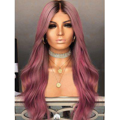 Middle Part Long Ombre Natural Wavy Party Synthetic Wig