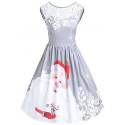 Christmas Lace Insert Santa Claus Print Party Dress
