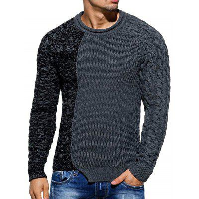 Spliced Raglan Sleeve Pullover Sweater
