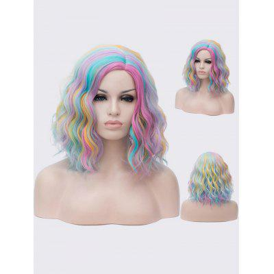 Medium Side Parting Colorful Rainbow Natural Wavy Cosplay Synthetic Wig