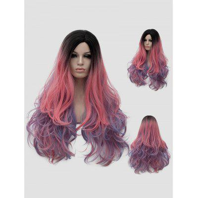 Long Side Parting Rainbow Colorful Wavy Party Synthetic Wig