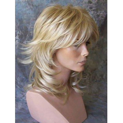 Medium Side Bang Layer Slightly Curly Synthetic Wig