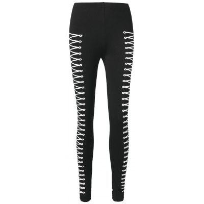 Lace Up Print Fitted Leggings