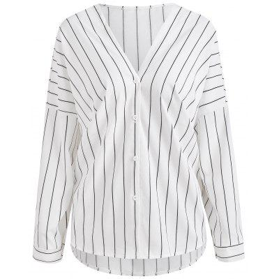 Dropped Shoulder Vertical Stripe Shirt