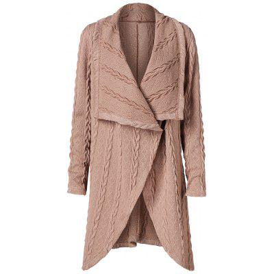Long Asymmetrical Cable Knit Cardigan