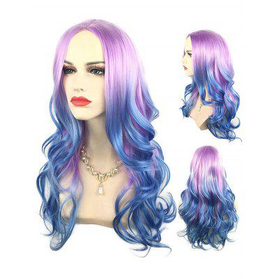Long Center Parting Colorful Wavy Cosplay Synthetic Wig
