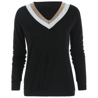 Casual V-Neck Long Sleeve Color Block Womens T-Shirt