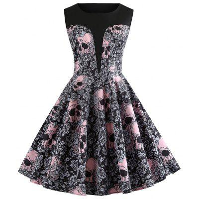 Crânio e estampa floral Vintage A Line Dress