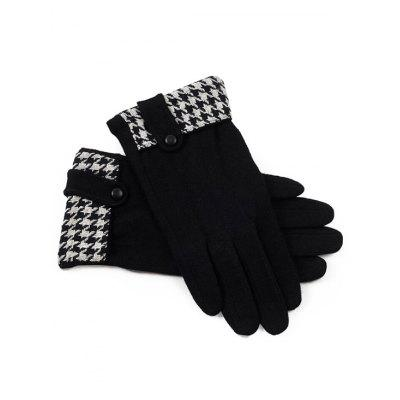 Houndstooth Pattern Full Finger Winter Gloves