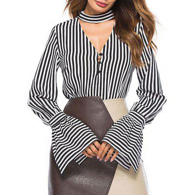 Keyhole Striped Bell Sleeve Blouse