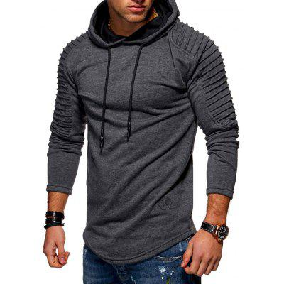 Solide Plissee Ärmel Patch Detail Lange Fleece Hoodie