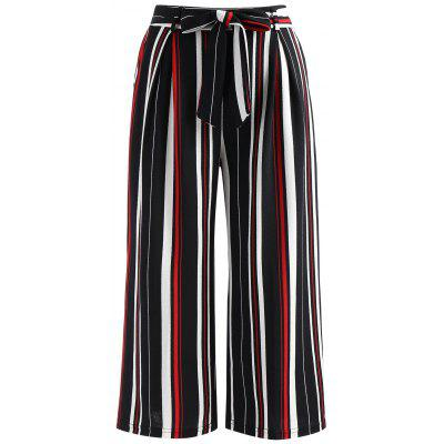 Belted Striped Print Palazzo Pants