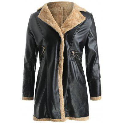 Lapel Fuzz Lined Faux Leather Long Coat