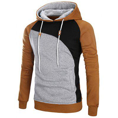 Casual Color Blocking Drawstring Hoodie