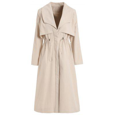 Long Trench Coat With Drawstring