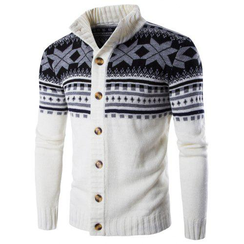 d4cea873a1a900 Geometric Snowflake Pattern Christmas Knitted Cardigan -  28.92 Free  Shipping