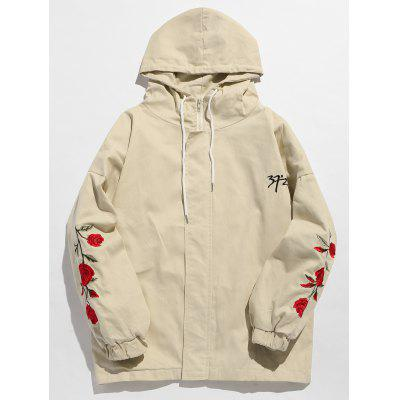 Flower Embroidery Zip Fly Hooded Jacket