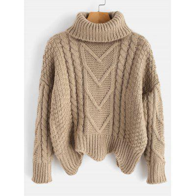 Turtleneck Cable Knit Pullover Sweater