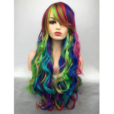 Inclined Bang Long Colorful Wavy Party Carnival Synthetic Wig