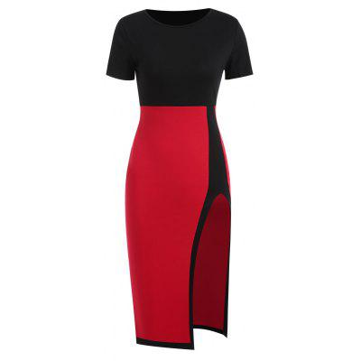 Color Block Front Slit Sheath Dress