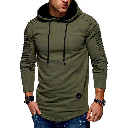 Men Casual Hoodies Mens Long Fleece Hoodie Solid Pleated Sleeve Patch Detail NEW