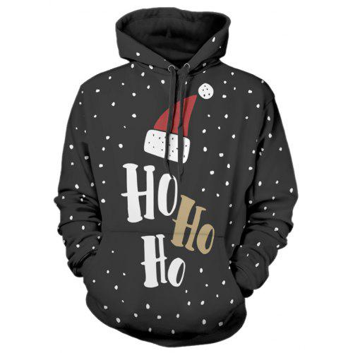 Christmas Cap Letter Print Pullover Hoodie