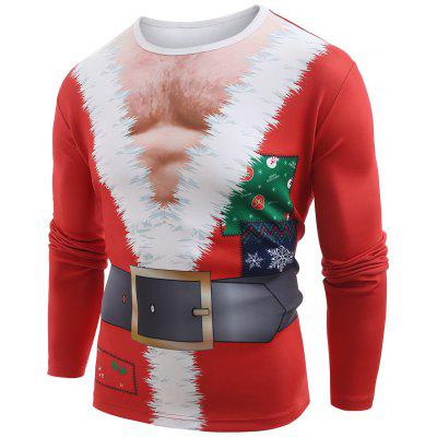 Funny Santa Muscle Clothes Print Christmas T-shirt