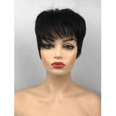 Inclined Bang Short Capless Straight Synthetic Fiber Wig
