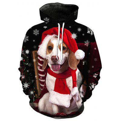 Hooded Christmas Dog 3D Print Pullover Hoodie