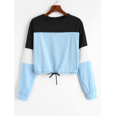 Drawstring Color Block Sweatshirt