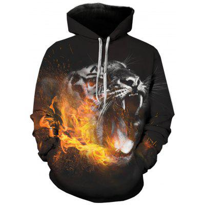 Hooded 3D Leopard Flame Print Pullover Hoodie