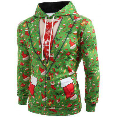 3D Christmas Elements Blazer Print Hoodie